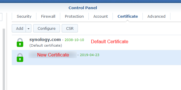synology certificate