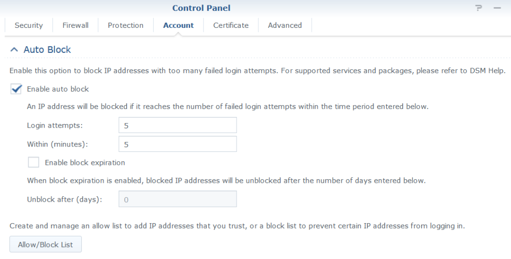 Synology Account Auto Block