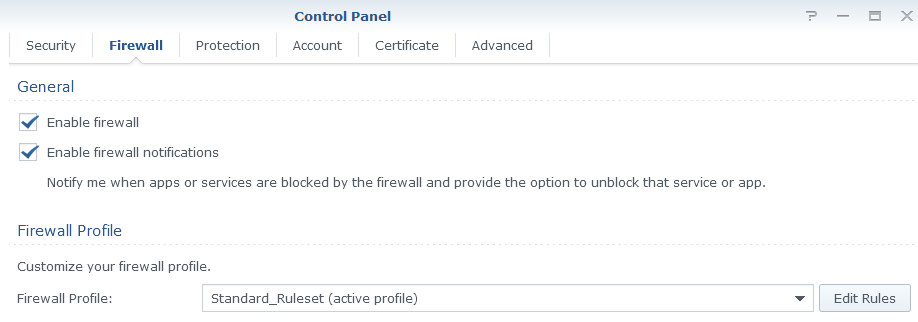 Firewall tab in Synology