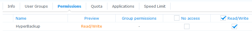 Synology backup user permissions
